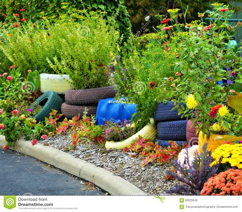 Colorful Planters by Colorful Tire Planters Stock Photo Image 60629649