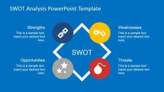 flat swot analysis powerpoint template slidemodel