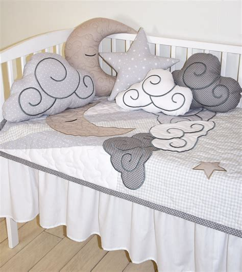 cloud bedding cloud boy quilt pastel moon baby blanket gray white
