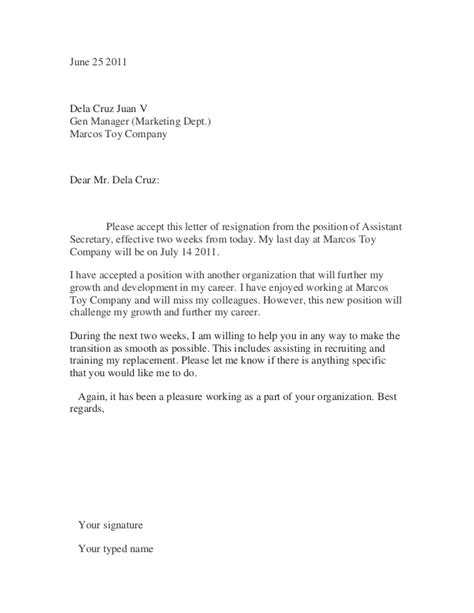 Resignation Letter Sle Doc Philippines How To Write A Resign Letter Letter Of Resignation