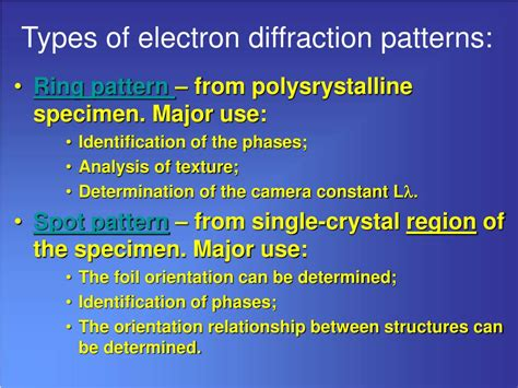 pattern types ppt ppt exercise indexing of the electron diffraction
