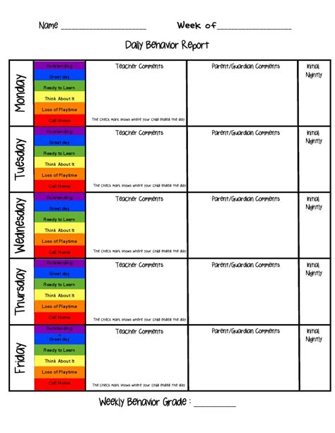 intervention report template 4 best images of daily report behavior card chart daily