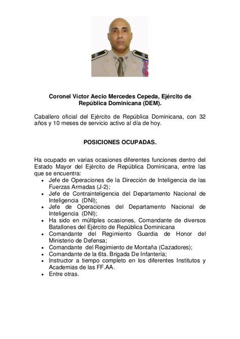 Modelo Curriculum Republica Dominicana Curriculum Vitae De Coronel V 237 Ctor Aecio Mercedes Cepeda Ej 233 Rcito De