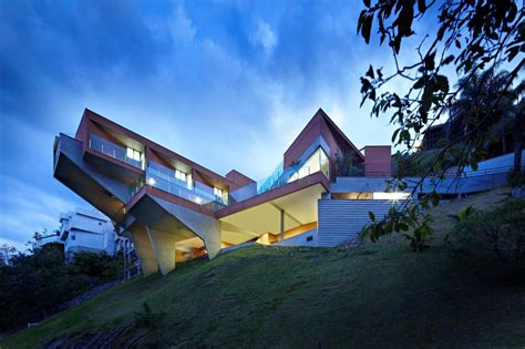 steep hill house designs sculptural concrete house built on a steep slope modern house designs