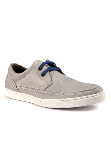 grey leather casual shoes rts7628