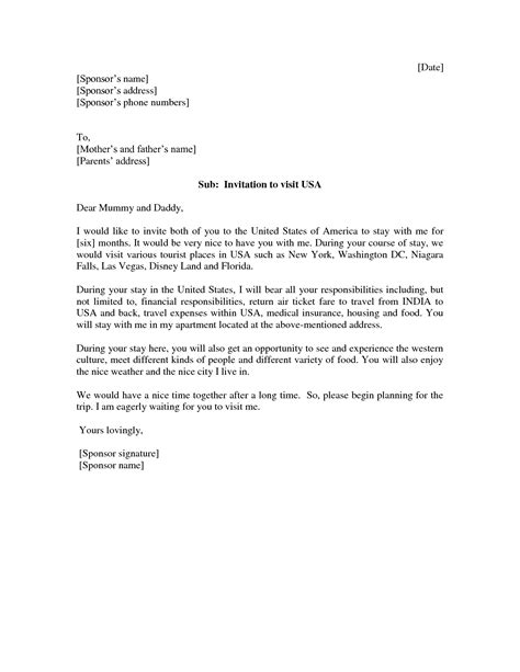 Letter For Visa Sle Invitation Letter For Us Visa Application Docoments Ojazlink