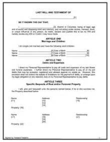 maryland will template bill of sale form maryland last will and testament sle