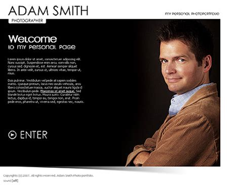 Personal Folio Gallery Flash Template Best Website Templates Personal Website Templates