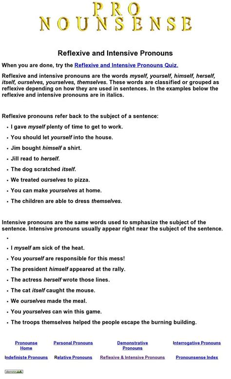 Reflexive And Intensive Pronouns Worksheet by Reflexive And Intensive Pronouns Quiz From Nounsense