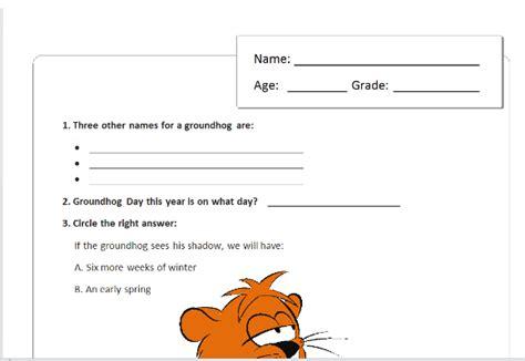 groundhog day quiz children s groundhog day quiz template for word