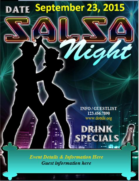 salsa night dance club flyer template word excel templates