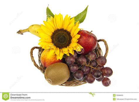Green Leaf Renzo Basket 383 decor of fruit basket with sunflower royalty free stock