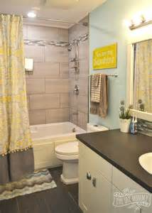 gray and yellow bathroom ideas kids bathroom reveal and some great tips for post reno clean up the diy mommy