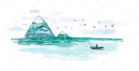 dibujo barco mar dibujo de un barco de pesca en el mar archivo im 225 genes
