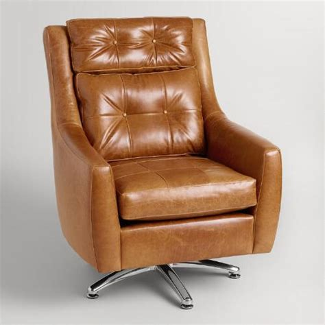 Tufted Leather Hardman Swivel Chair World Market Tufted Swivel Chair