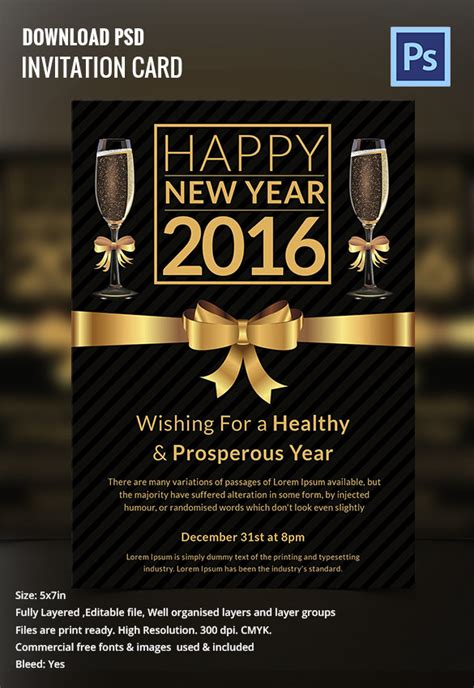 new year invitation card template 28 new year invitation templates free word pdf psd