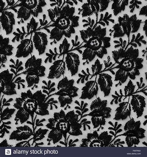 Black Lace black lace fabric texture with floral design stock photo