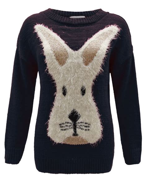 Sweater Rabbits knitted rabbit bunny novelty jumper top sweater 8 14 ebay