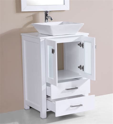 24 Bathroom Vanity And Sink 24 Quot Newport White Single Modern Bathroom Vanity With Vessel Sink Bathroom Vanities Bath