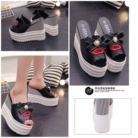 Wedges Import jual shwf16 black sepatu wedges import 13cm grosirimpor