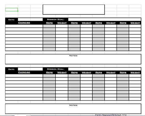 free personal training excel templates free exercise