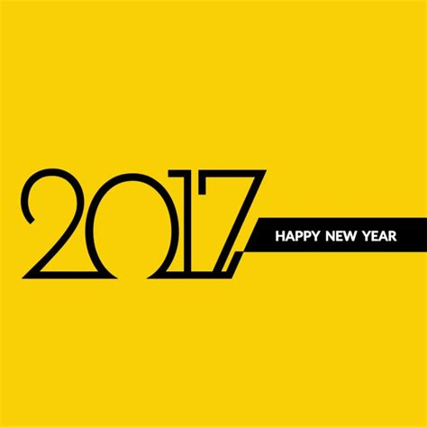 modern yellow background of new year 2017 vector free