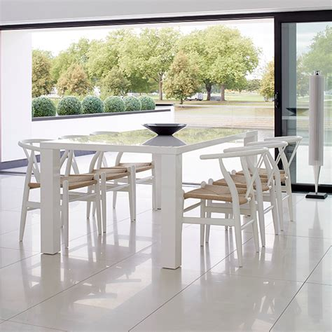 moderno white rectangular dining table the