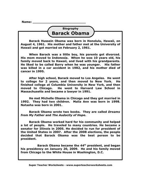 biography of barack obama for students barack obama biography printable on super teacher