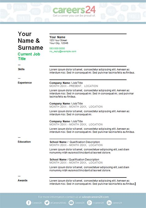 page cv template south africa simple cv template cv