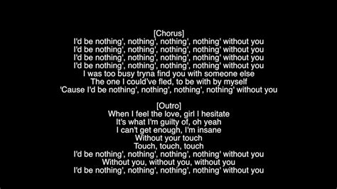 with or without you testo lyrics nothing without you the weeknd album starboy