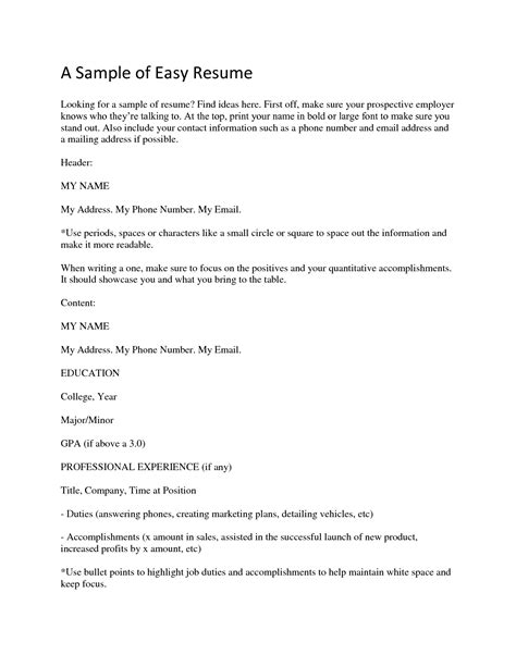 Easy Resume by Easy Resume Exles Resume And Cover Letter Resume
