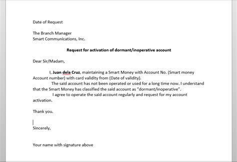 Request Letter Activate Bank Account Re Activate Smart Money Dormant Account Kibitzerwap