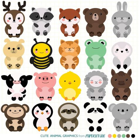 clipart animals animal clipart set mega pack of 20 animal vector