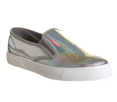 womens office kicker slip on holographic flats ebay