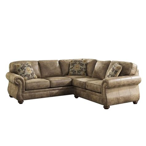ashley 2 piece sectional ashley larkinhurst 2 piece faux leather sectional in earth