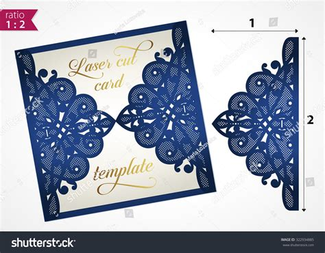 card cut out template die cut wedding invitation card template stock vector