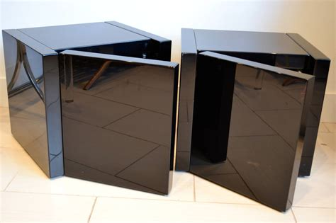 Cube Nightstand by Roche Bobois Black Lacquer Cube Nightstands 1980s At 1stdibs