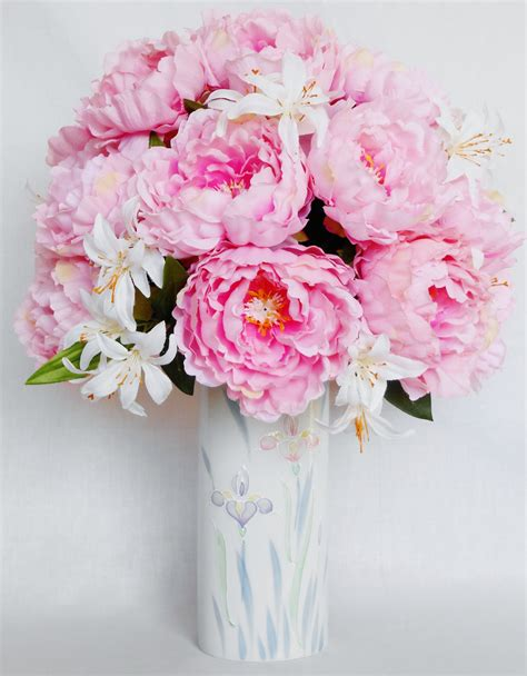 Artificial Peonies In Vase by Silk Flower Arrangement Pink Peonies Floral Vase Artificial