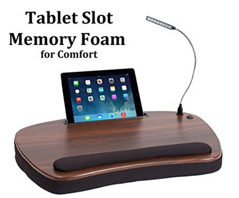 sofia sam memory foam lap desk with usb light 5035 sofia sam oversized wood top memory foam lap desk with