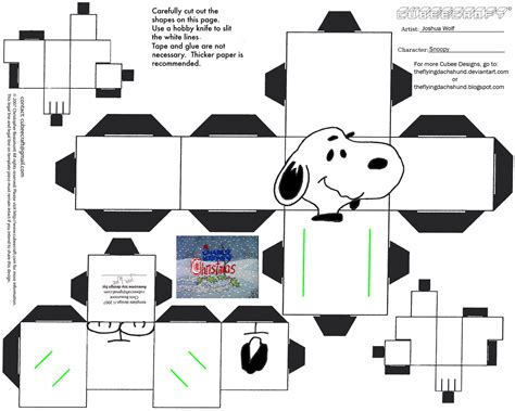 Free Papercraft Templates To - xmas4 snoopy cubee by theflyingdachshund on deviantart