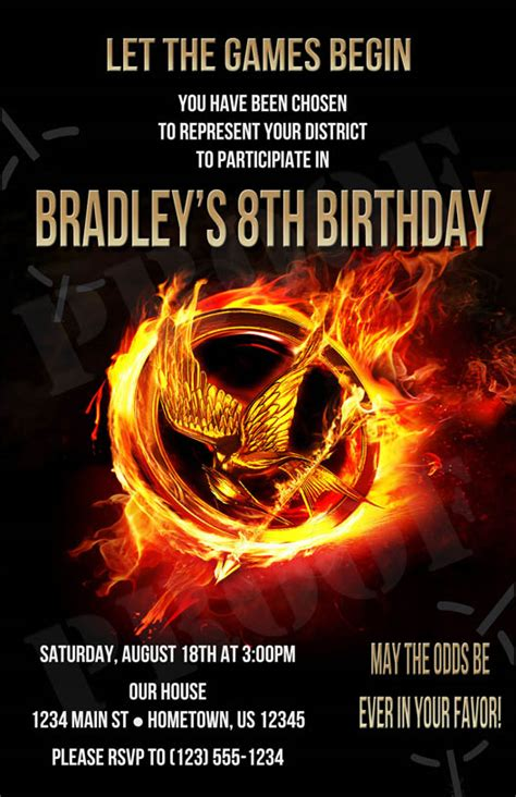 printable hunger games birthday invitations 6 best images of hunger games birthday invitations