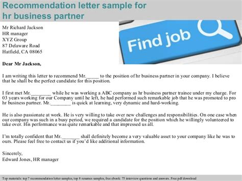 Business Partnership Reference Letter hr business partner recommendation letter