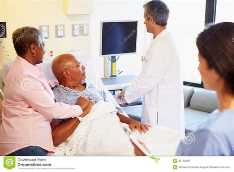 room to room monitors for elderly team meeting with senior in hospital room royalty free stock images image 35792809