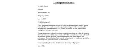 Request Letter To Client For Meeting Office Meeting Schedule Letter Business Letter Exles