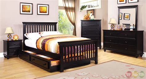 canberra cottage black youth bedroom set with slatted