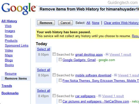 google images history how to delete your google search history