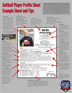 college recruiting profile template college softball c player profile sheets