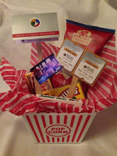 Dinner And A Movie Gift Cards - dinner a movie gift movie theater snacks bag of popcorn dinner gift card and movie tickets