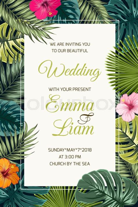 tropical card template wedding event invitation card template tropical