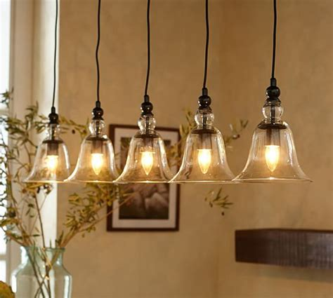 Rustic Kitchen Pendant Lights Rustic Glass 5 Light Pendant Pottery Barn